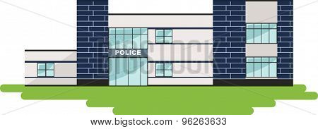 Police concept. Panoramic background with police department building in flat style.