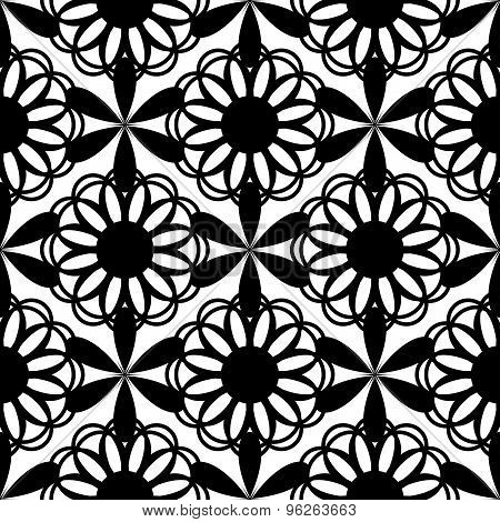 Floral seamless pattern black color