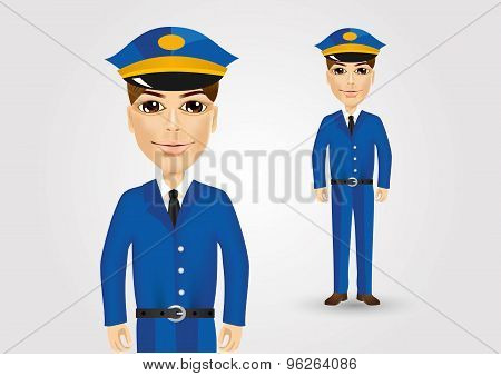 friendly postman in blue uniform