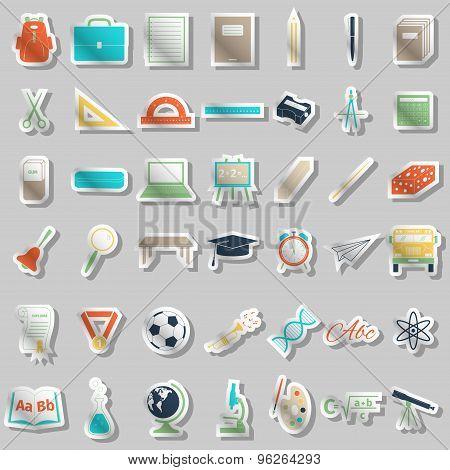 School Accessories Icons Set