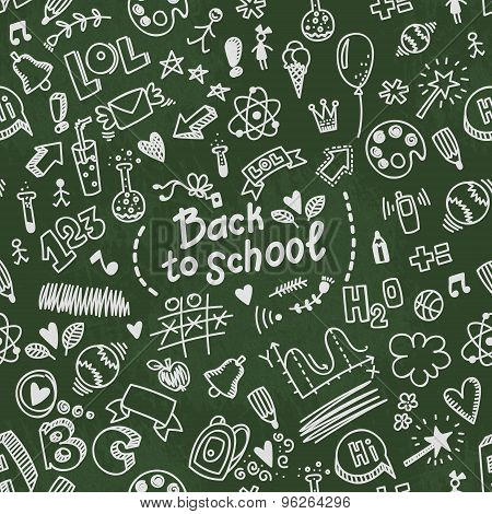 School Seamless Vector Doodle Pattern With Different School Supplies.
