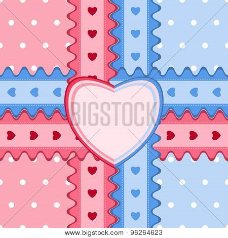 Seamless Pattern With Lace And Heart-shaped Card In Pink And Blue Colors