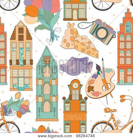 Set of traditional things of Netherlands:buildings,tulips,bike,cheese,shoes