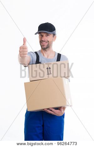 Friendly Postman With Parcels And Thumb Up