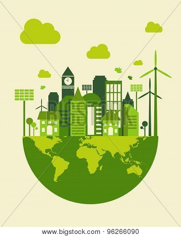 Green City Building, Save Earth Concept, Vector
