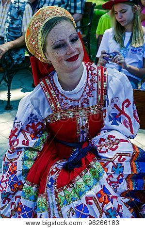 Portrait Of Ukrainian Girl In Traditional Costume