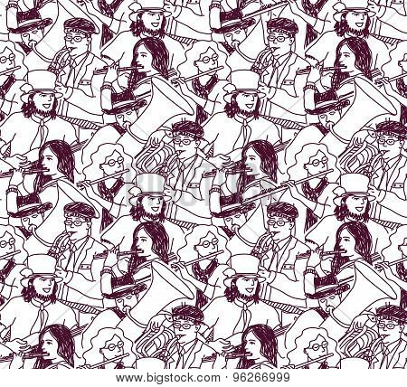 Musicians doodles ink crowd seamless pattern