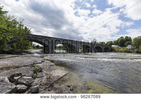 A five span bridge over a river
