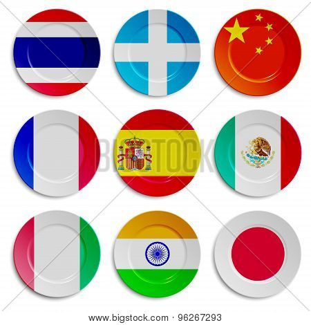 Set of plates with flags isolated on white