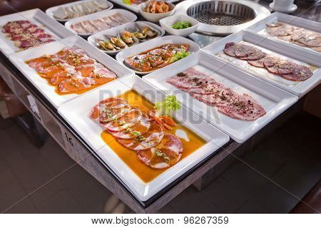 Assorted Meat And Seafood Uncooked And Roaster Ready To Be Grilled