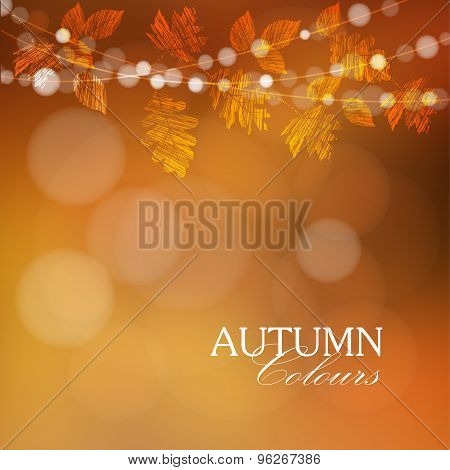 Autumn, Fall Background With Leaves And Lights, Vector