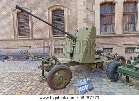Anti-aircraft 37 Mm Soviet Gun In Prague