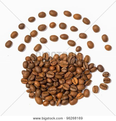 Coffee Cup And Wi-fi Symbol Made From Beans, Grain. Isolated On White Background.