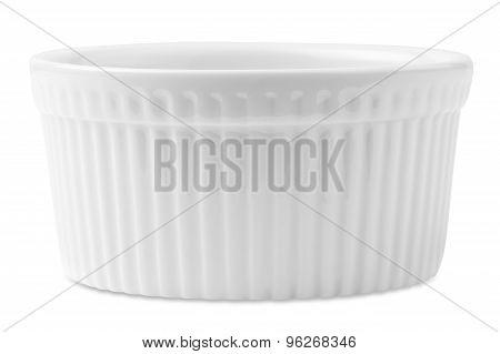 isolated white souffle dish