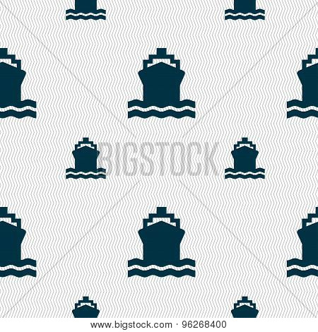 Ship Icon Sign. Seamless Pattern With Geometric Texture. Vector