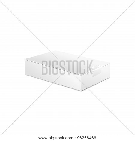 Realistic White Package Box. For Software, electronic device and other products. Vector illustration