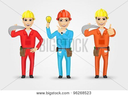 electrician or mechanic in poses