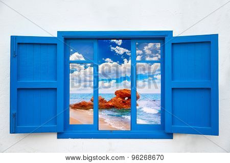 Almeria view from blue window of Mojacar beach photo mount
