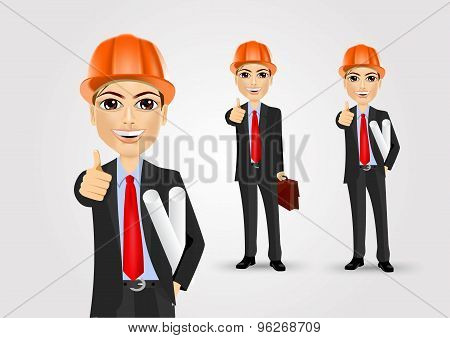 male engineer giving thumbs up