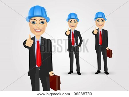 engineer with briefcase giving thumbs up
