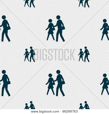 Crosswalk Icon Sign. Seamless Pattern With Geometric Texture. Vector