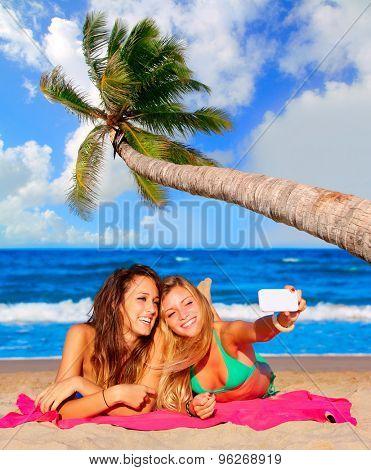 happy girl friends selfie portrait beach sand with palm tree photo mount