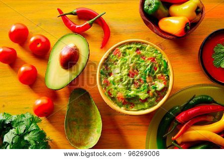 Mexican food mixed guacamole nachos chili sauce dipping cheddar cheese lemon pico de gallo