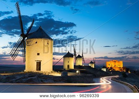 Windmills at dusk, Consuegra, Castile-La Mancha, Spain