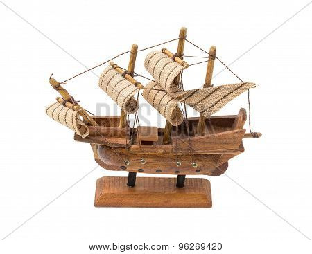 Wooden Souvenir Sailboat On A Stand. Toys