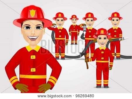 firefighters in uniform with fire hose