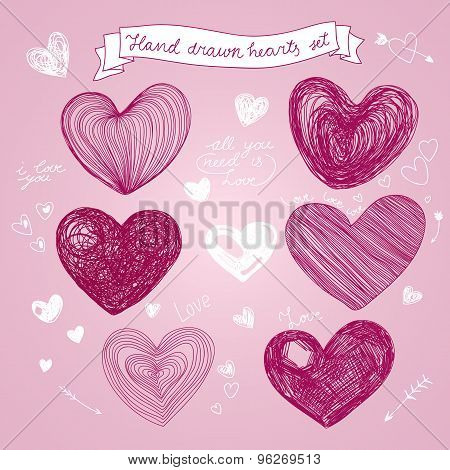 Set of Hand drawn vector hearts.