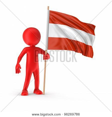 Man and Austrian flag (clipping path included)