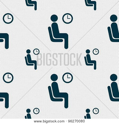 Waiting Icon Sign. Seamless Pattern With Geometric Texture. Vector