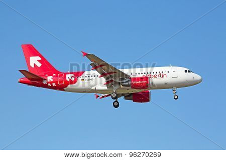 ZURICH - JULY 18: A-319 Air Berlin landing in Zurich airport after short haul flight on July 18, 2015 in Zurich, Switzerland. Zurich airport is home for Swiss Air and one of biggest european hubs.