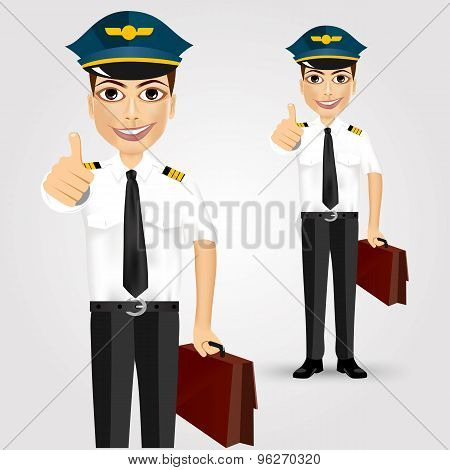young friendly pilot with briefcase