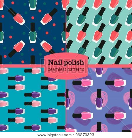 Nail Lacquer Or Nail Polish Seamless Patterns Set