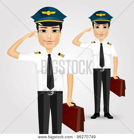 friendly pilot with briefcase saluting