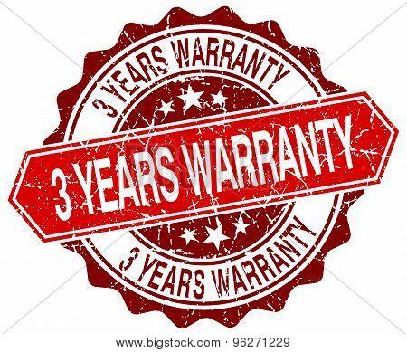 3 Years Warranty Red Round Grunge Stamp On White