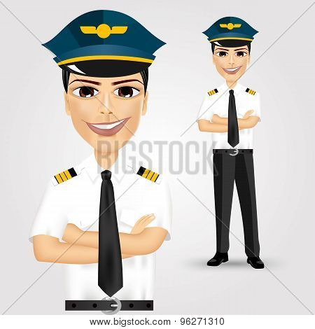 friendly pilot with crossed arms