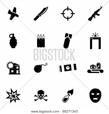 Vector black terrorism icon set