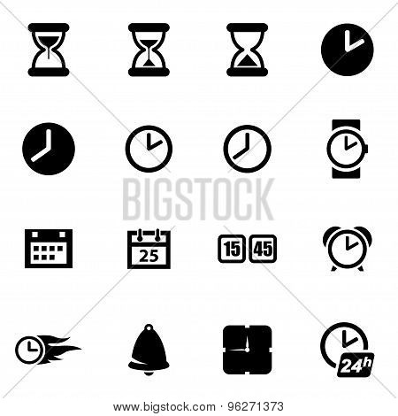 Vector black time icon set