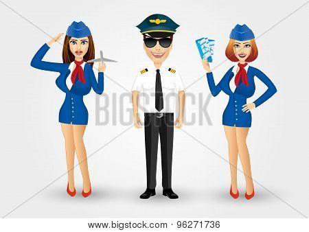 young friendly pilot and two stewardesses
