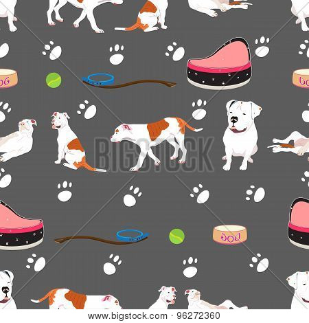 Bulldog Seamless Pattern