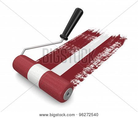 Paint roller with Latvian flag (clipping path included)