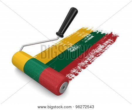 Paint roller with Lithuanian flag (clipping path included)