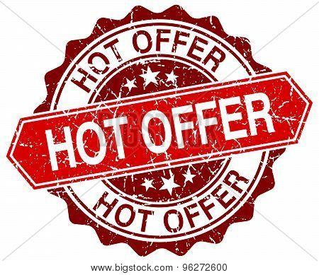 Hot Offer Red Round Grunge Stamp On White