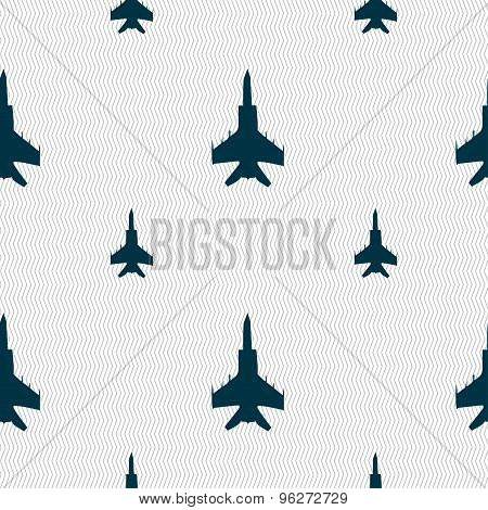 Fighter Icon Sign. Seamless Pattern With Geometric Texture. Vector