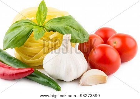 Pasta Tagliatelle, Tomatoes, Garlic, Chili Pepper And Basil