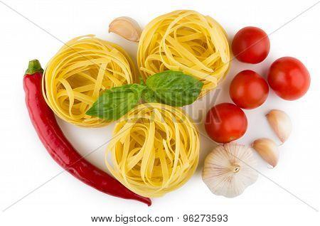 Pasta Tagliatelle, Tomatoes, Garlic, Chili Pepper, Top View
