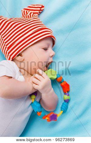 Baby On Blue Blanket